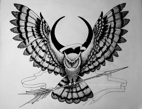 Сова со стрелой. Рисунок. сова, стрела, рисунок, дотворк