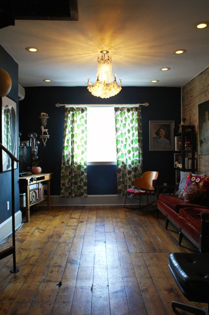 love the navy wall and chandelier: Chandelier, Lizzy S Lovely, House Ideas, Navy Walls, Wall Color, Wood Floors, Dollhouse