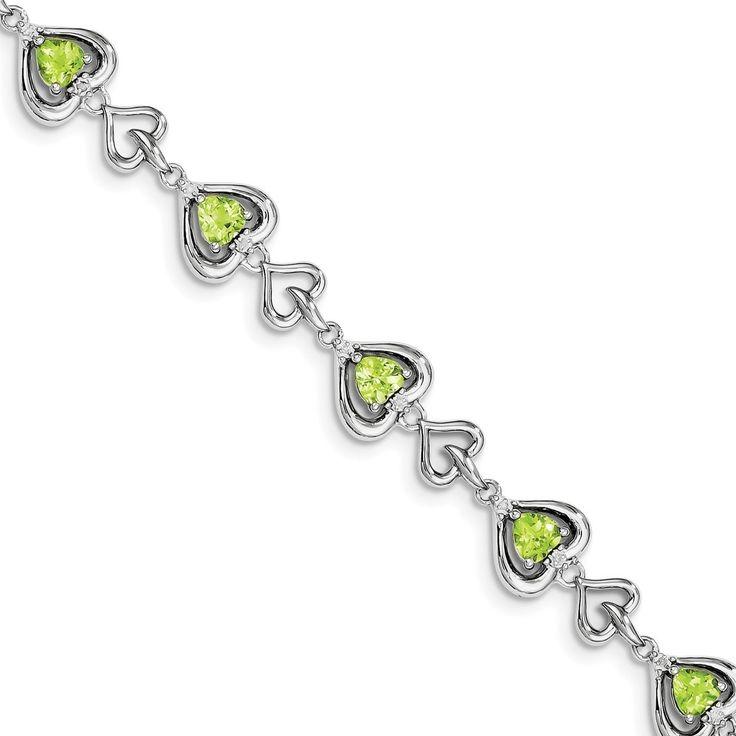 Versil Sterling Silver Rhodium-plated Diamond & Heart Link Peridot Bracelet
