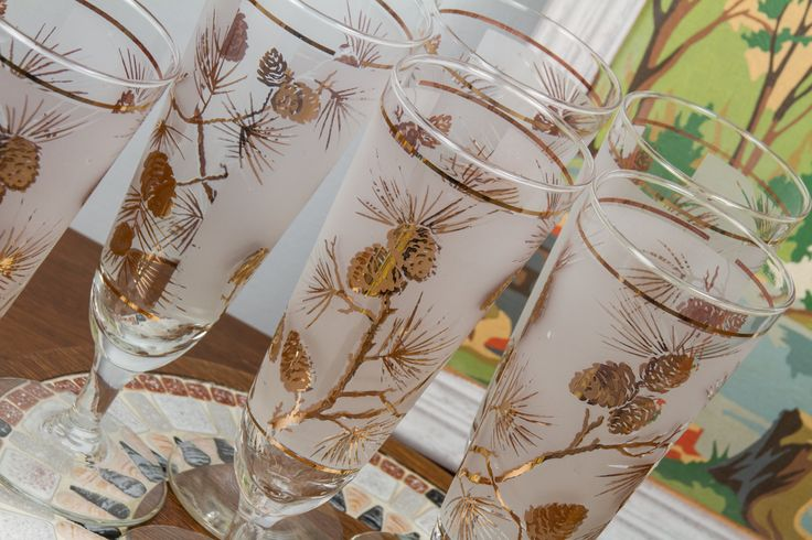 Libbey Pinecone Pilsner Glasses