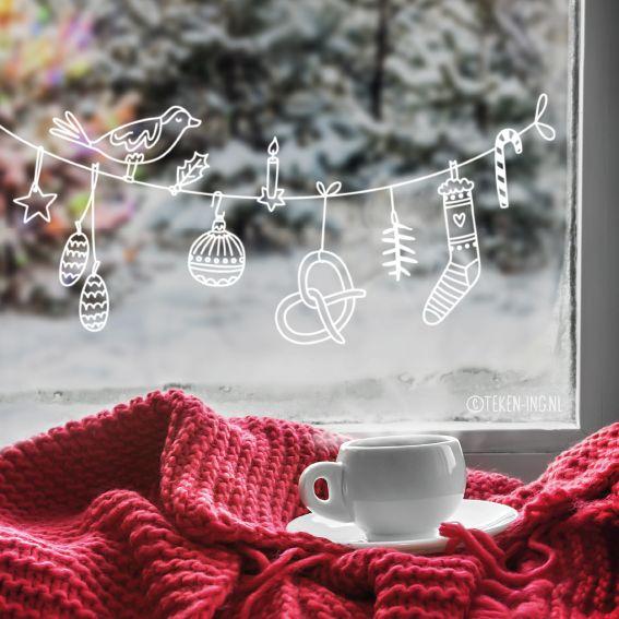 Leuke kerstslinger #raamtekening met dennenappels, vogeltje, ster, pretzel, sok en meer kerstige dingen, geïllustreerd door Teken-ing.