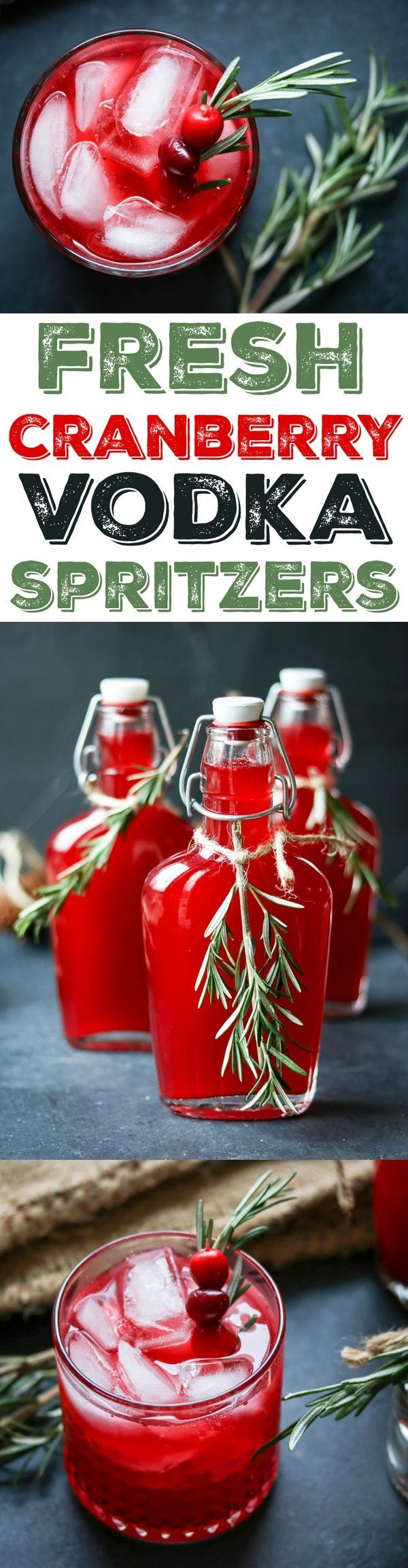 Fresh Cranberry Vodka Spritzers with Rosemary