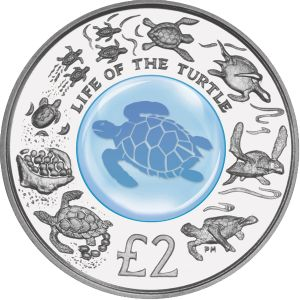British Indian Ocean Territory 2009 - Life of the Turtle - Proof Sterling Silver Coin with Crystal