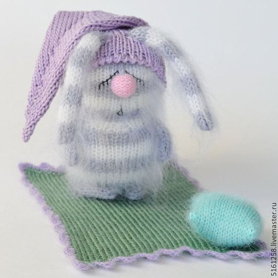 Snoozy Grey Bunny with Blanket & Pillow  by MiracleStore on Etsy
