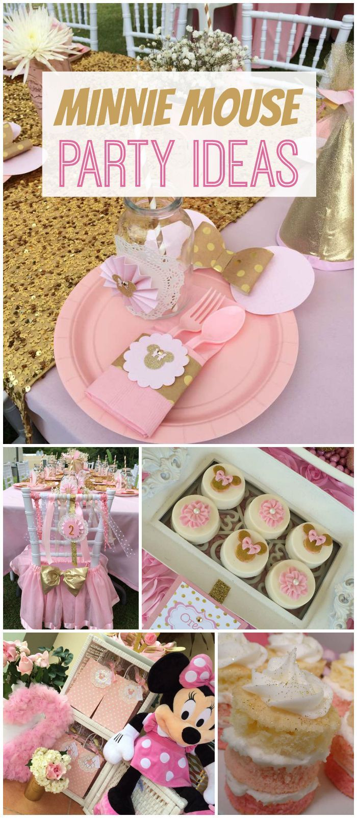 Wow! This party has Minnie Mouse, plus a pink and gold color scheme! See more party planning ideas at CatchMyParty.com!: