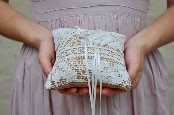 RING BEARER PILLOW Vintage Filet Lace and hessian burlap ring bearer cushion wedding pillow knotted lace bridal pillow rustic shabby chic