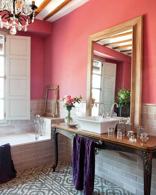 Eye-catching vanities.: Bathroom Design, Coral Bathroom, Floors, Wall Color, Vanities, Pink Wall, Dream Bathroom, Design Bathroom, Pink Bathroom
