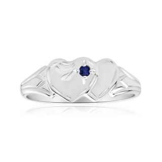 Natural Sapphire Two Heart Signet Ring in Sterling Silver