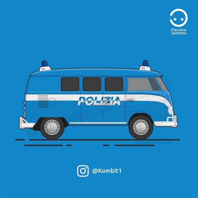 Polizia di stato VW T1 Van Flat Design