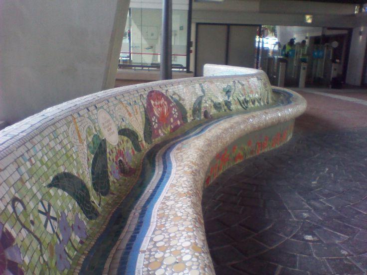 Cape Town Civic Centre MyCiti Bus Station - Mosaic on Bench - 27.09.2013