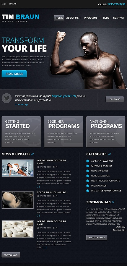 "A personal trainer's website look. It's ""sleek"" but I don't think it fits your approach. What do you think?"