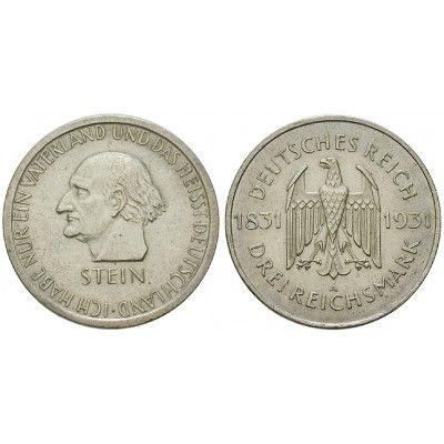Weimarer Republik, 3 Reichsmark 1931, vom Stein, A, vz, J