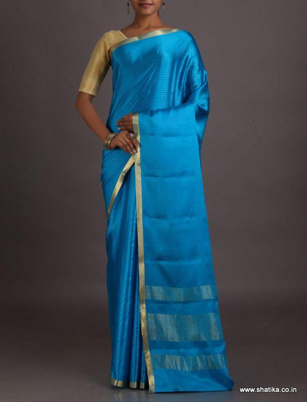 Bhavya Self-Design With Gold Lace Border #MysoreSilkSaree