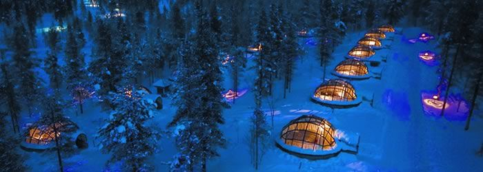 glass igloos in Finland- for watching the Northern Lights!