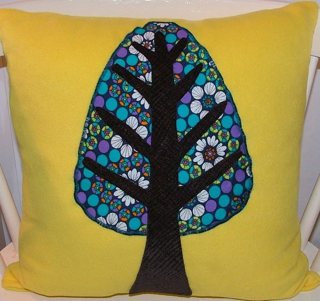 1960s Yellow Turquoise Floral Appliqué Tree Design Cushion