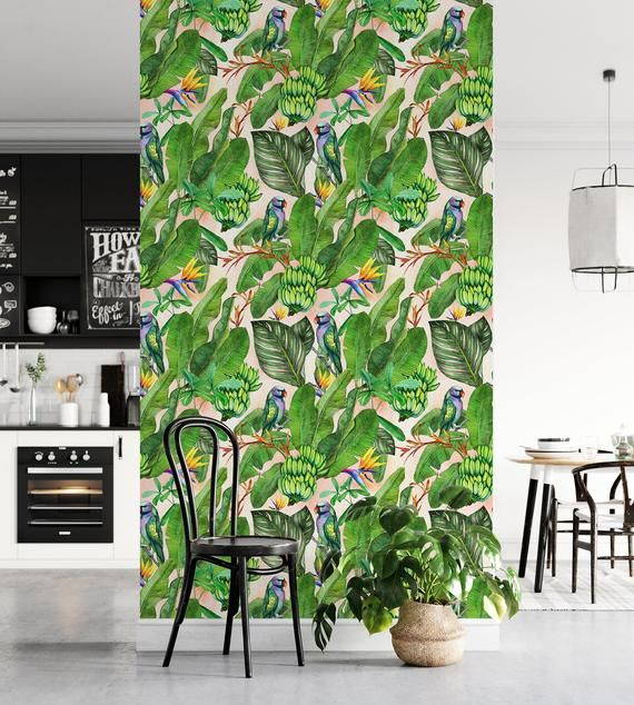 Green Tropical Wallpaper With Banana Leaves And Parrots Peel Etsy Lukisan