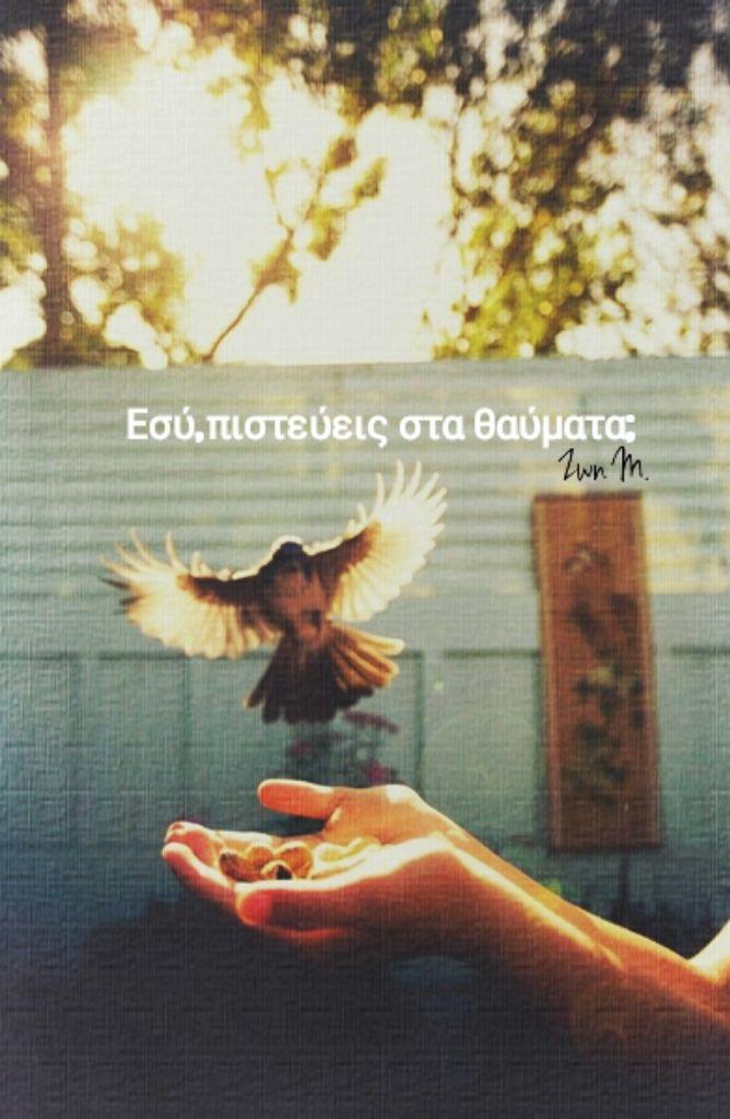 ...με θαύματα γεννιέται πάντα και πεθαίνει ο κόσμος με θαύματα που κρύβονται μέσα στο φως  πριν απ' το φως πέρα απ' το φως τόλης νικηφόρου http://www.nikiforou-poems.gr/gr/work/alphabet7.htm