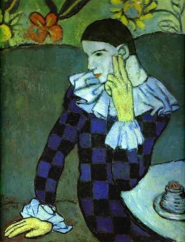 """Pablo Ruiz Picasso.  """"Leaning Harlequin"""" 1901"""