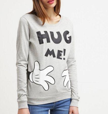 ONLY ONLDISNEY Bluza z napisem HUG ME light grey melange