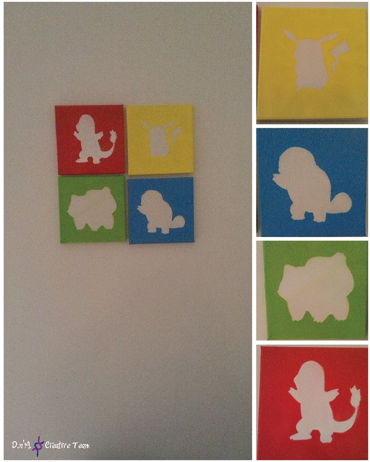 -Pokemon -Water markers and spray paint on canvas -Measures: 20x20 cm each canvas SOLD Can be made similar after request