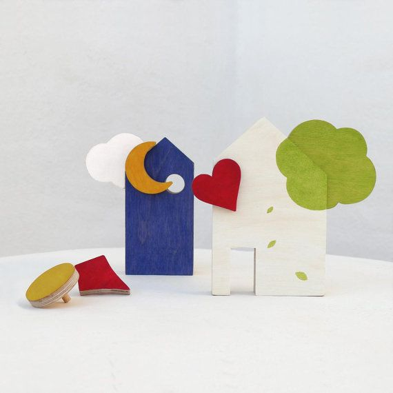 Wooden toy houses blocks,  ecofriendly toy for toddlers and kids, spring toy in wood for play and home decor