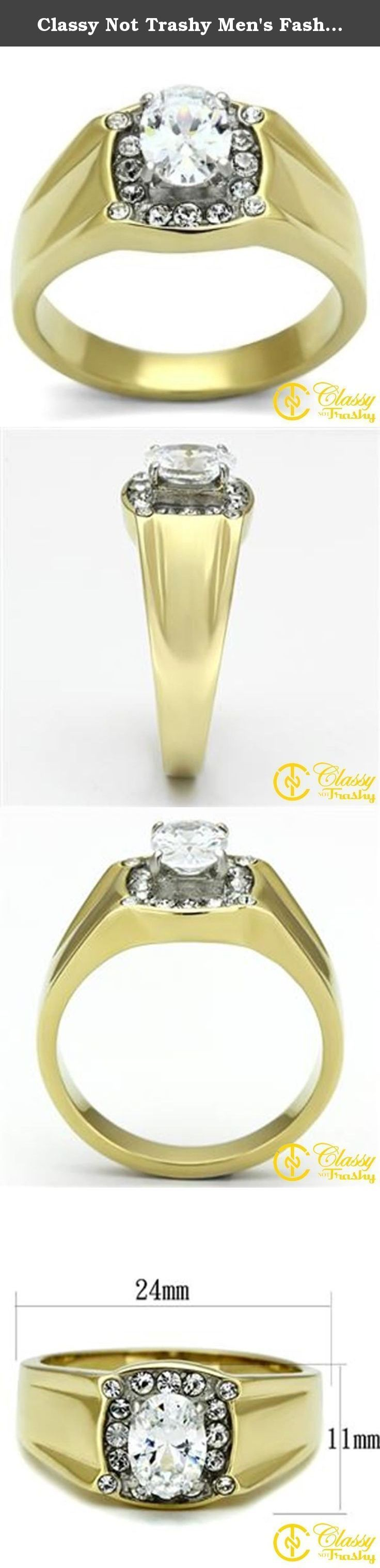 Classy Not Trashy Men's Fashion Jewelry Ring, Premium Grade Stainless Steel Clear Cubic Zirconia CZ Oval Ring Size 13. This gorgeous Classy Not Trashy® Men's Fashion Jewelry Ring, Premium Grade High Quality Stainless Steel Clear Cubic Zirconia CZ Oval Ring Size 13 has the finest details and highest quality you will find anywhere! Our team prides ourselves on finding the best prices without reducing quality, and in this Men's Ring Collection, we have definitely done just that! The...