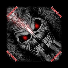 """Official licensed Iron Maiden silk screened cotton bandana.  Bandana measures 21.5"""" (51cm) X 21.5 """" (54cm), perfect for head wear or as a banner for your wall"""