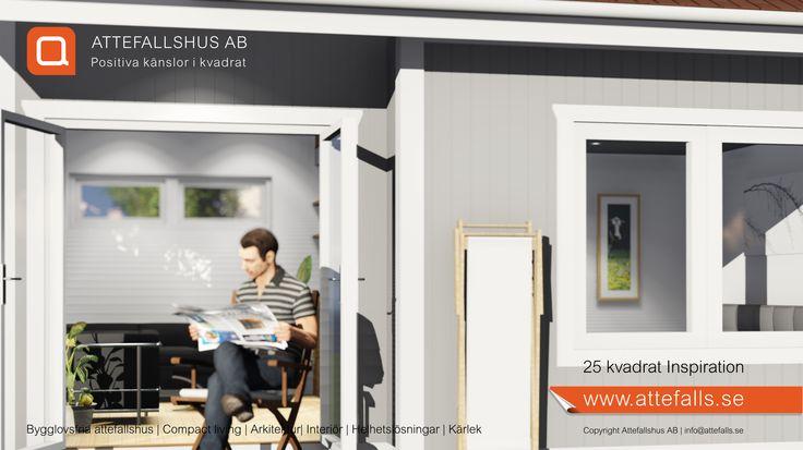 25 kvadrat Inspiration. Ett trivsamt attefallshus med ett separat sovrum, vardagsrum/kök samt wc/dusch. Med ett litet trevligt sovloft frigör man angenäm golvyta. #attefallshus #attefalls #atterfallshus #attefallshuset #arkitektur #boendefrågor #sommarhus #gästhus #minivilla #fritidshus #friggebod #ministuga #25kvadrat #compactliving #komplementbyggnad #komplementbostad #sommarnöjen