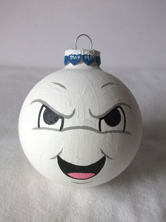 Ghostbusters Stay Puft Marshmallow Man Painted Holiday Christmas Ornament