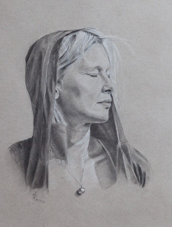 https://flic.kr/p/R59UZF | Sylwia | Drawing by graphite, charcoal + white pencil on gray paper 16 x 12 in