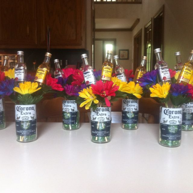 My creation for my dads 65th birthday party he loves corona so i decided to man up centerpieces - Birthday party theme for men ...