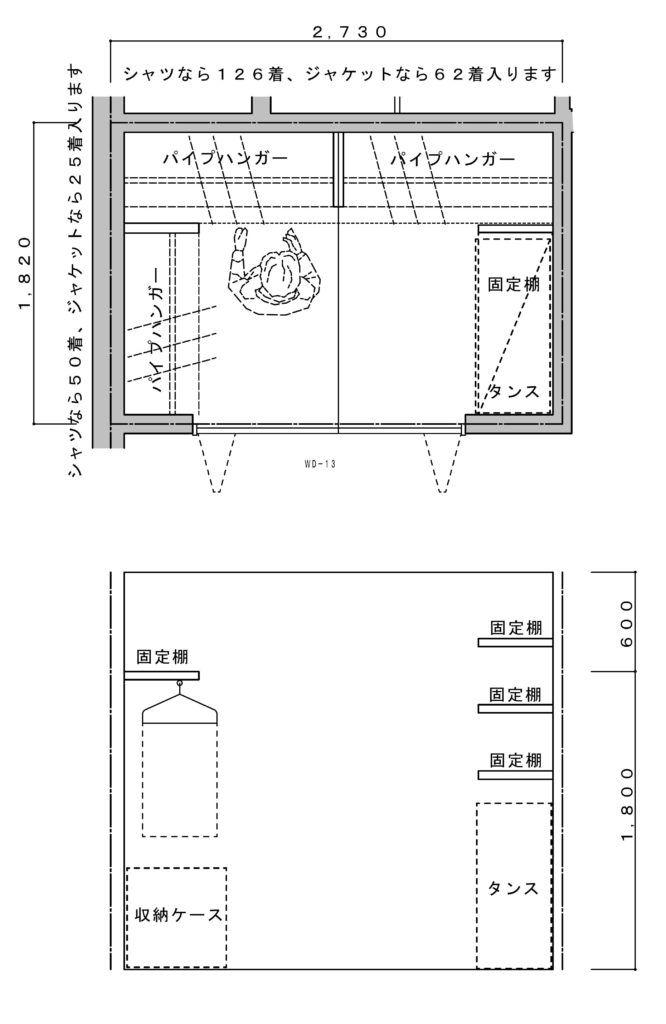 ウォークインクローゼットの間取りを寸法付で4タイプ紹介 3畳