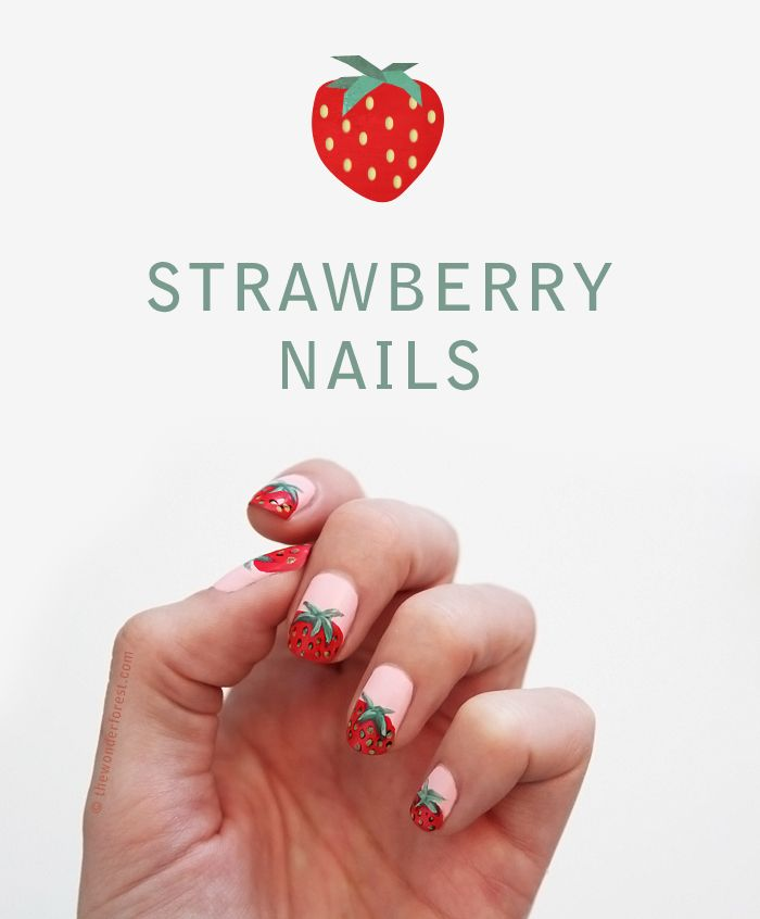 Sweet Strawberry Nails for Summer! #nails #nailart The Wonder Forest