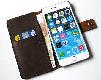 iphone 6 plus wallet case  Features:  + Exclusive and quality genuine leather + 3 credit card slots and bill compartment + with ball-head-lock + Secure hold of the iPhone + Furthermore, all ports accessible from iPhone + Delicate design + Made in Germany  Specification:  Color: light tan Material: genuine Leather Weight: 90g  Scope of delivery:  1 x Genuine leather wallet-case in the color light tan for iPhone 6 plus / 6s plus (without the pictured bank cards, without the pictured…