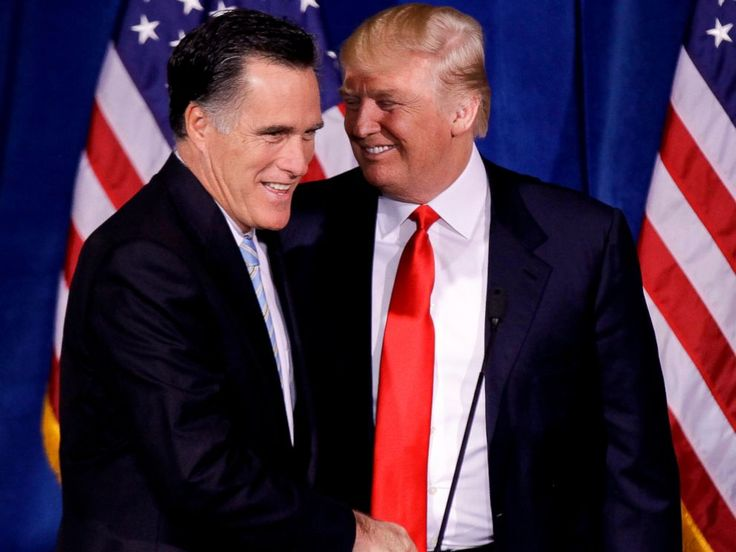 PHOTO: Donald Trump greets Republican presidential candidate, former Massachusetts Gov. Mitt Romney, after announcing his endorsement of Romney during a news conference, Feb. 2, 2012, in Las Vegas.