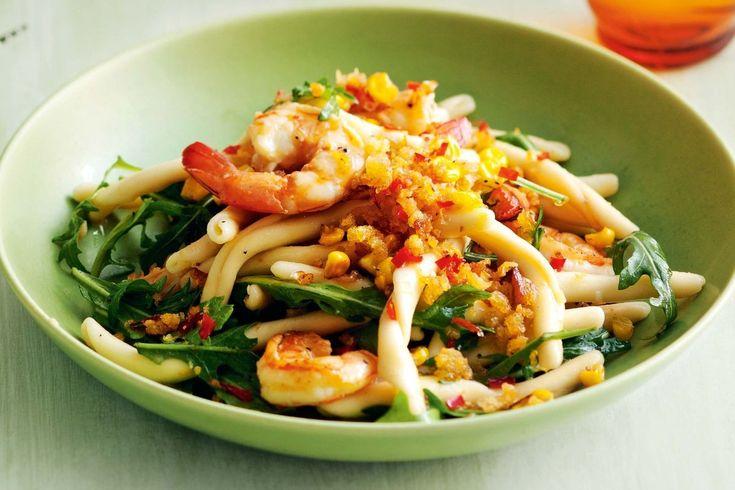 Prawn casarecce with lemon, chilli and corn pangrattato - Recipes - delicious.com.au