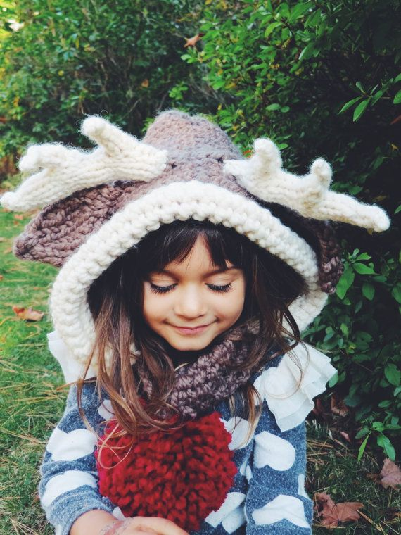 Knitting Pattern For Reindeer Hat : PATTERN for Reindeer Hat Rudolph Hood Cowl Scarf Knit Toddler Child Adult // ...