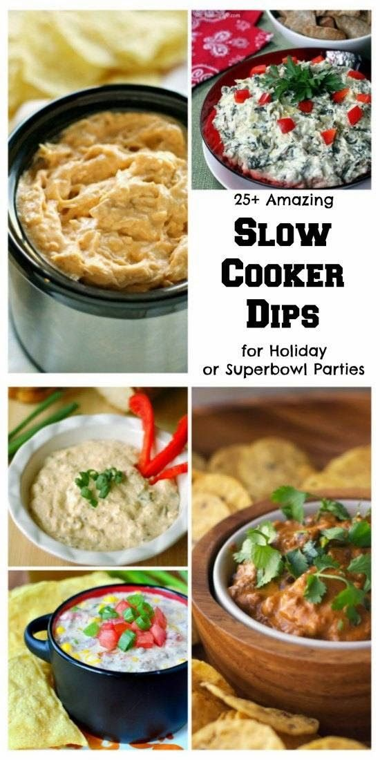 25+ Slow Cooker Dip Recipes for the Holidays or Superbowl Parties; a collection of CrockPot dip recipes from some of my favorite food bloggers! [Featured on SlowCookerFromScratch.com] #SlowCooker #CrockPot