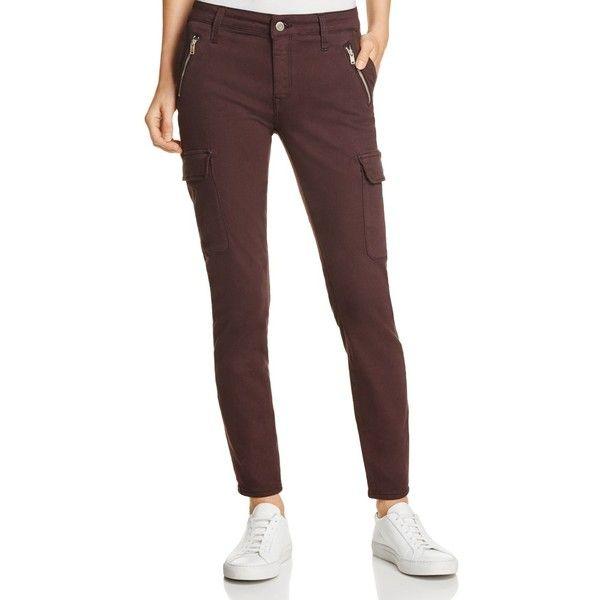 Mavi Juliette Skinny Cargo Jeans in Wine Twill ($89) ❤ liked on Polyvore featuring jeans, wine twill, cargo jeans, skinny fit jeans, cargo skinny jeans, super skinny jeans and wine skinny jeans