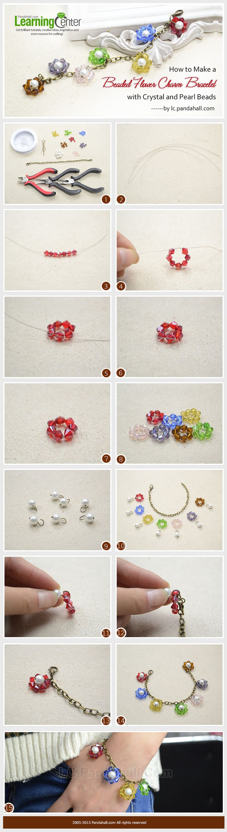 How to Make a Beaded Flower Charm Bracelet with Crystal and Pearl Beads