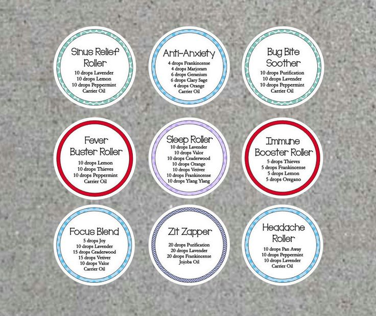 Essential Oil Roller Bottle Labels Waterproof Stickers Young Living Sinus Fever Focus Sleep Anxiety Zit Heacache Bug Bite Immune Set of 24 by WendysPaperShoppe on Etsy