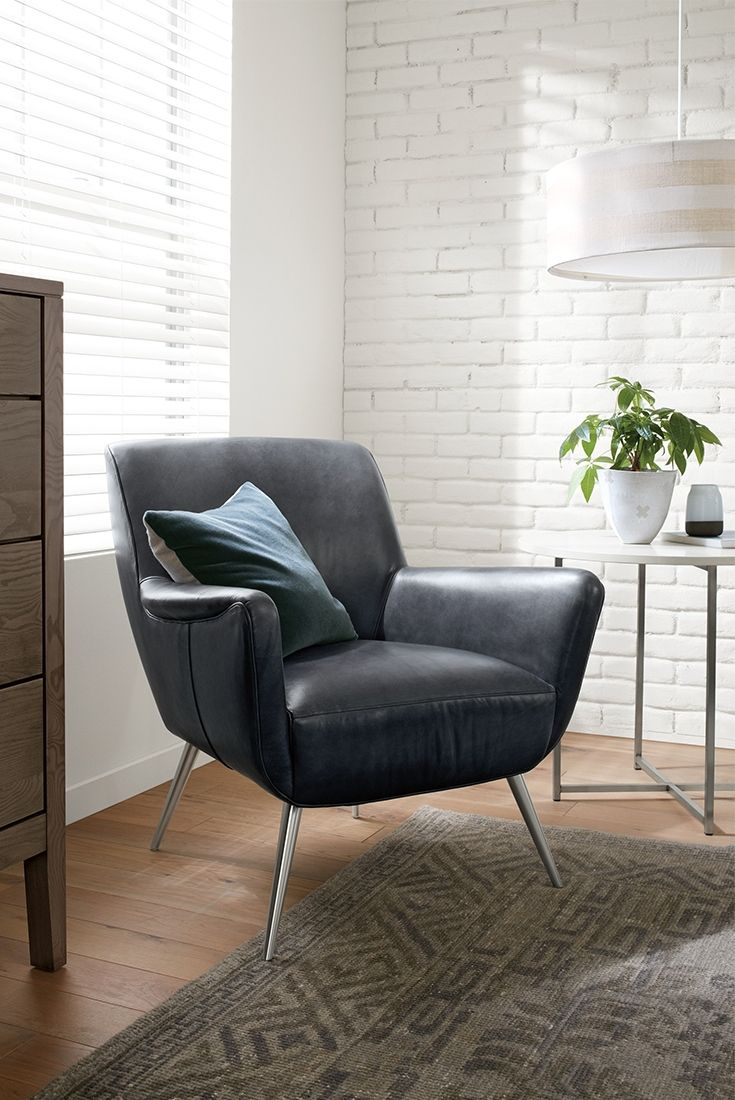 Featuring Mid Century Inspired Curves The Nichols Leather Chair Adds Sophisticated Softness To