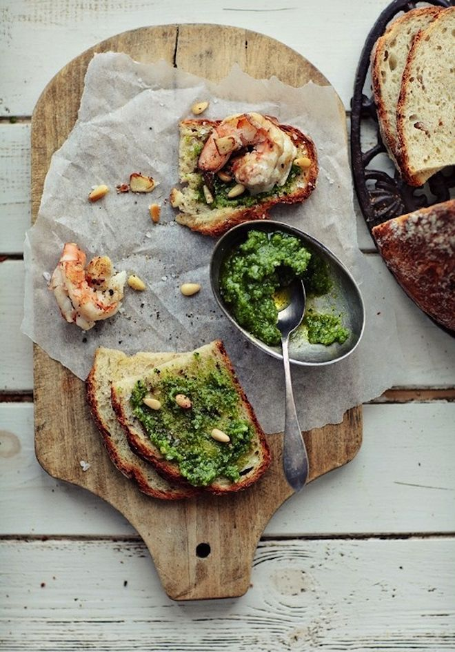 Pesto & Shrimp Crostini