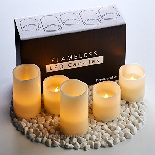 "Hayley Cherie - Real Wax Flameless Candles with Timer (Set of 5) - Ivory LED Candles 5"" and 3"" tall - Flickering Amber Flame - Battery Operated Pillar Candles – Unscented"