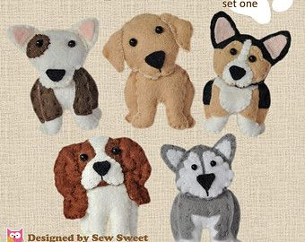 cute plush Dogs sewing patterns set One - pdf PATTERN, sew your own, wool felt, corgi, bull terrier, malamute, labrador, cavalier king