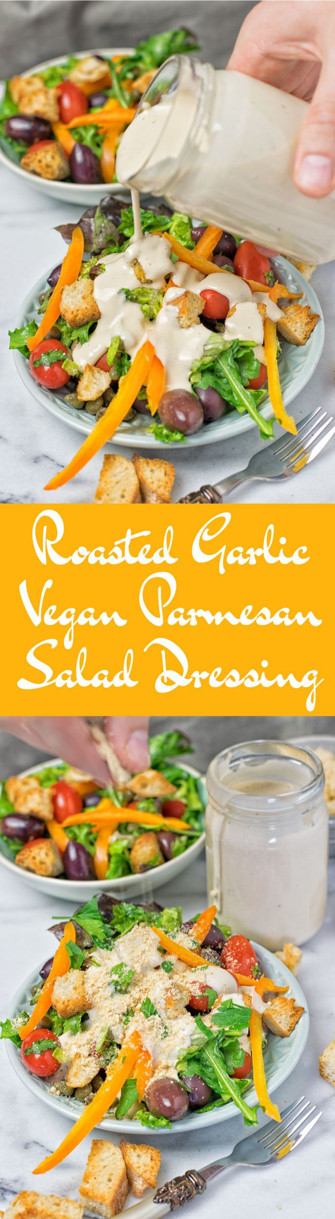 A Roasted Garlic Vegan Parmesan Salad Dressing – easy to make with only 5 ingredients in 2 easy steps. This will be your new vegan salad dressing to splash over