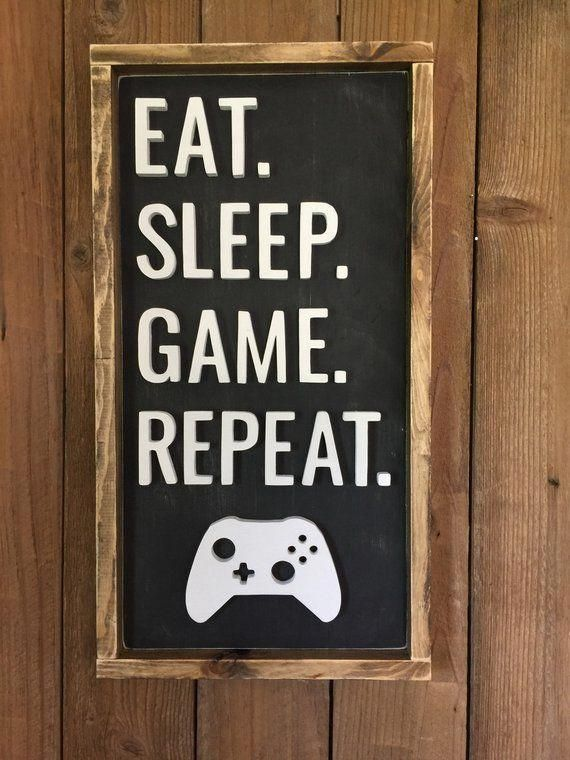 Game Room Wood Sign Eat Sleep Game Repeat Decor Gamer | Etsy #gameroomdecorideasbardesigns