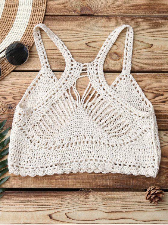 Knitting Crochet Bikini Top BEIGE: Bikinis | ZAFUL