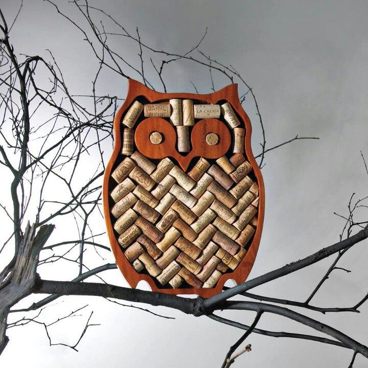 wine corks in an owl. IT's all my loves wrapped in one!