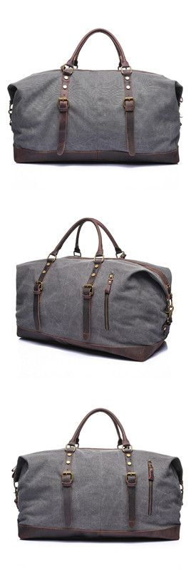 Waxed Canvas Leather Travel Bag/ Dufulle Bag/ Holdall Luggage/ Weekender Bag